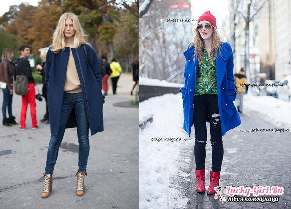 С чем носить синее пальто? Какую шапку или палантин носить с пальто?