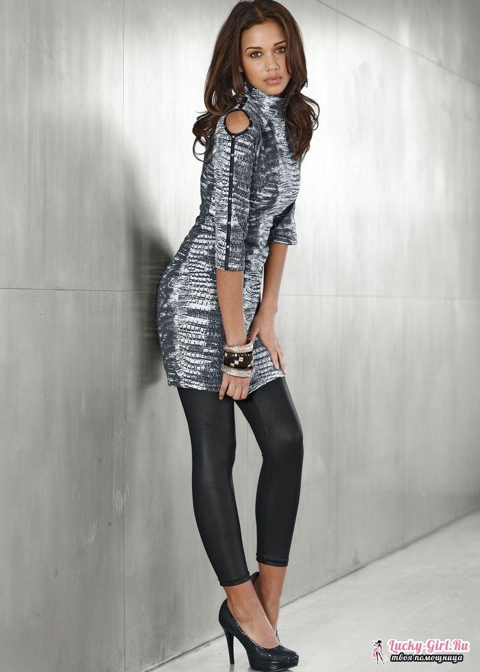 Лосины: с чем носить? Варианты образов с черными и цветными лосинами, пример вечернего наряда