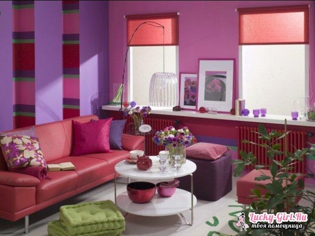 С каким цветом сочетается фиолетовый в интерьере?