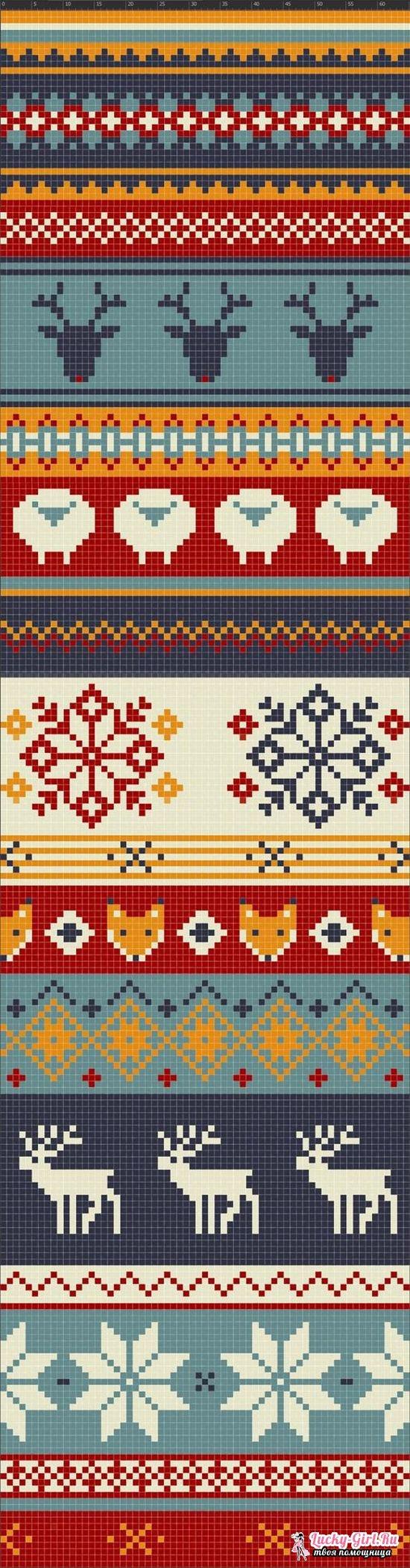 узор двухцветные соты спицами схема