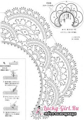 Вязаные воротнички крючком для школьной формы, из японских журналов - схемы и описание