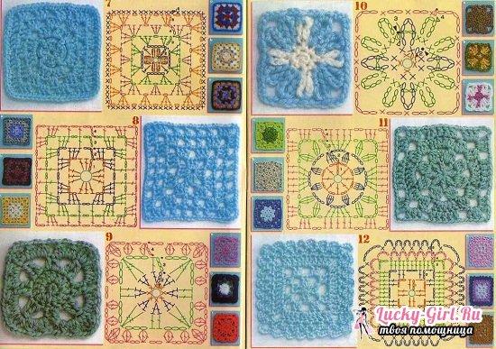 Бабушкин квадрат: схема вязания крючком классического мотива и пледа