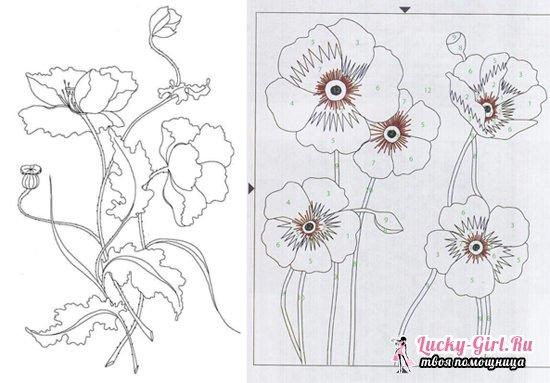 Вышивка гладью: схемы работы для рисунков с цветами