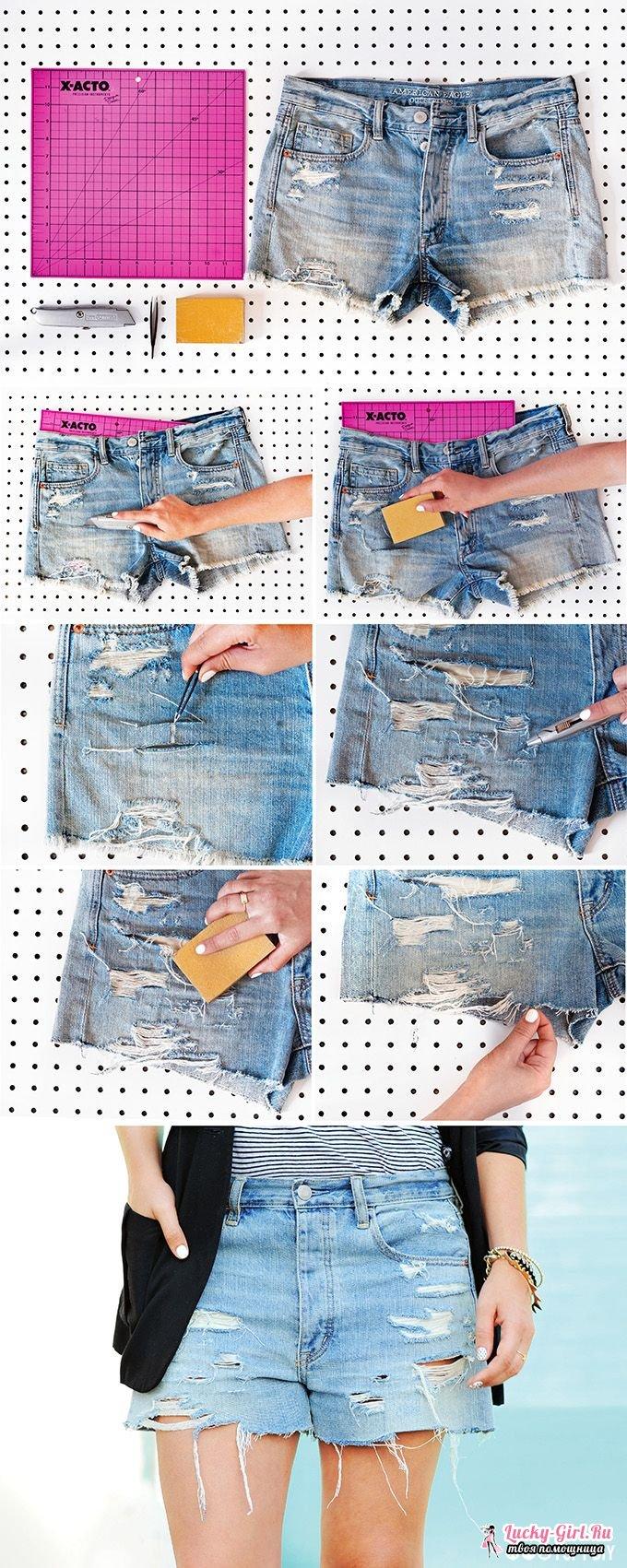 Как сделать рваные шорты? Рваные шорты: фото и идеи по отделке