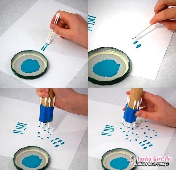 Поделки из ватных палочек: как мастерить? Рисование ватными палочками: правила