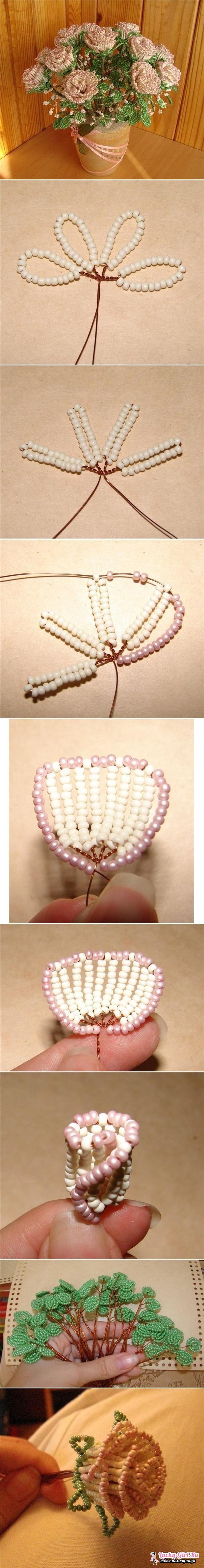 Цветы из бисера схемы плетения