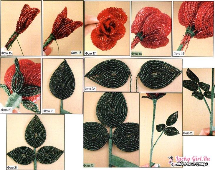 Как сделать из бисера лепестки розы