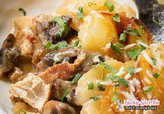 Курица в духовке с грибами