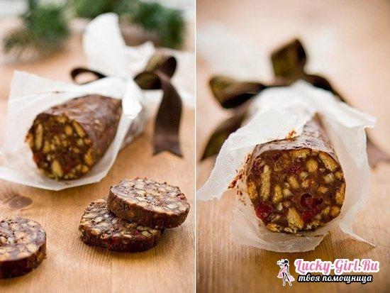 Сладкая колбаска из печенья: различные варианты рецепта