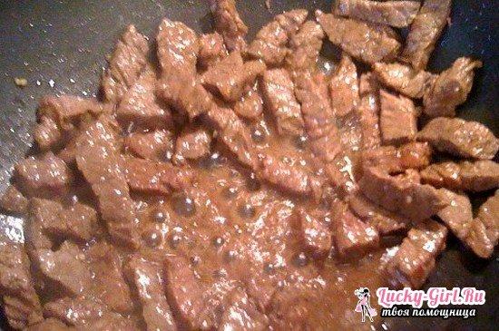 Говядина, жаренная на сковороде: рецепт с фото. Жареная картошка с говядиной